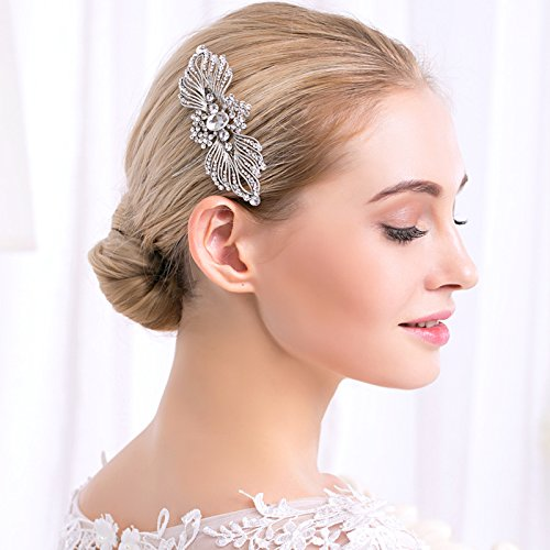 Crystal Wedding Flower Hair Comb Pins Bridal Women\'s Rhinestone Accessories Seven & Nine Service