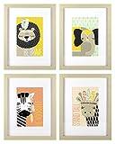 Roommates Decor Nursery Baby Room Little Explorer Animals Wall Art Assorted Set - 4 Pack