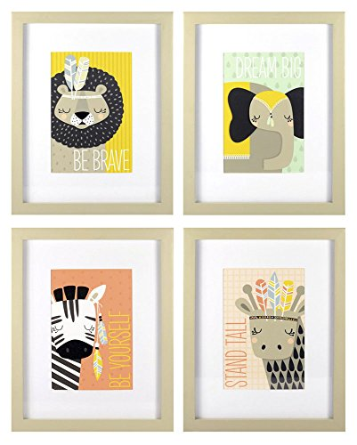Roommates Decor Nursery Baby Room Little Explorer Animals Wall Art Assorted Set - 4 Pack