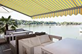 ADVANING Manual Classic C Series, 12'x10', Semi-Cassette Top Quality Window/Door Canopy Sun Shade Patio Retractable Awning, Sunny Yellow with Gray Stripes, Model: MA1210-A225H