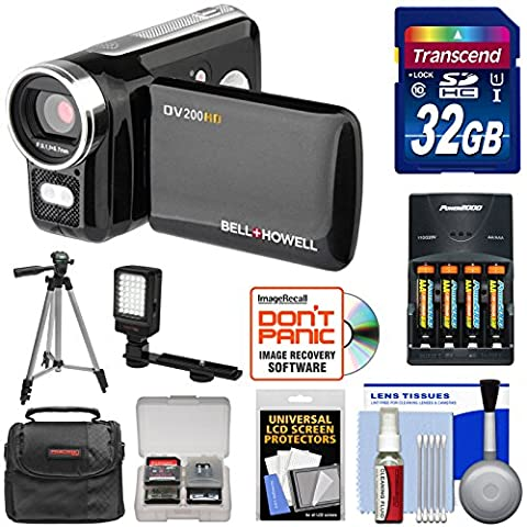 Bell & Howell DV200HD HD Video Camera Camcorder with Built-in Video Light with 32GB Card + Batteries & Charger + LED Light + Tripod + (Jvc Everio Sd Card)