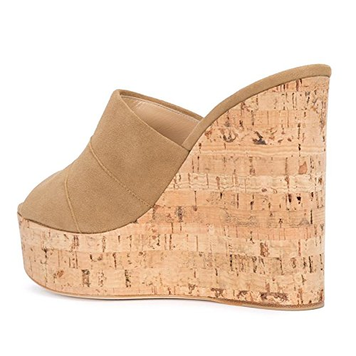 Amy Q Women's Faux Suede Brown Peep Toe Cork Wedge Mules Platform Slides High Heel Sandals, Size 37