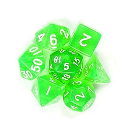 Leoie 7Pcs/Set Translucent Polyhedral Dice Set for Dungeons Dragons Pathfinder D&D RPG (D4 D6 D8 D10 D12 D20 D%) Green