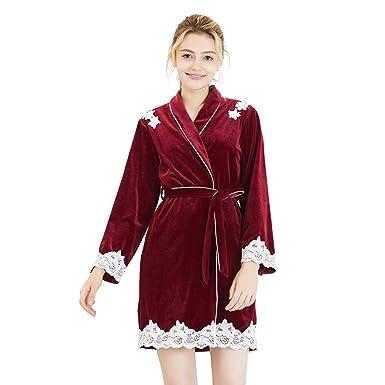 TieNew Women s Sexy Velvet Sleepwear Kimono 27d00db6d