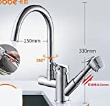 AWXJX Sink Taps Stainless Steel Kitchen Hot And Cold Ceramics Rotate Single Handle Single Hole