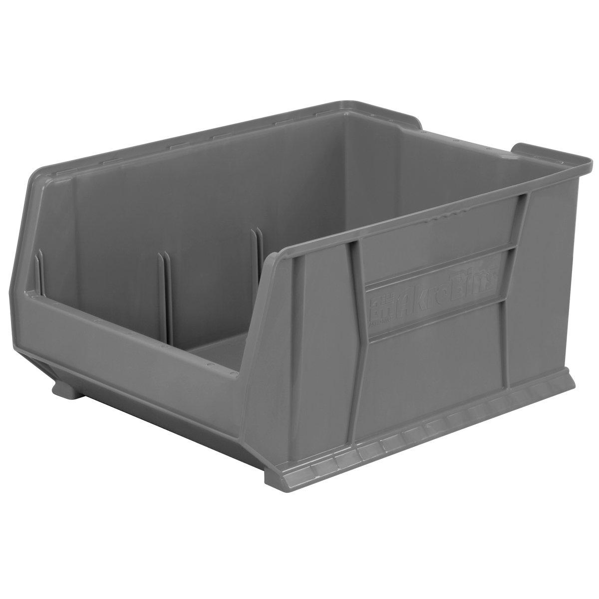 Akro-Mils 30289GREY Super Size Plastic Stacking Storage, 24-Inch x 18-Inch x 12-Inch, Grey