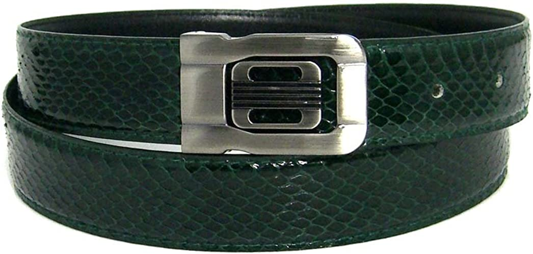 Mens Forest Green 1.25 Wide Bonded Snakeskin Belt with Stylish Buckle