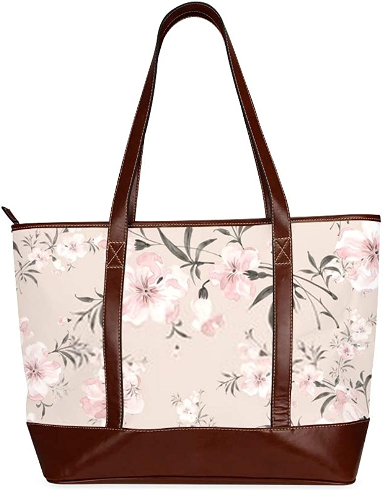 Tote Bags Watercolor Seamless Pattern Delicate Flowers Q Travel Totes Bag Fashion Handbags Shopping Zippered Tote For Women Waterproof Handbag