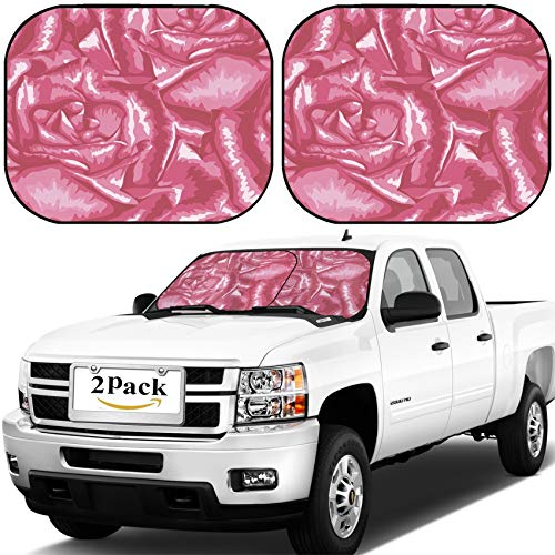 MSD Car Windshield Sun Shade, Universal Fit, 2-Piece for Car Window SunShades, Automotive Foldable Protector Cover, Image ID: 30071511 Beautiful Seamless Background with Pink Roses Hand Drawn with ef ()