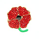 DURA-Home Poppy Red Diamante Flower Kate High Gloss Black Enamel Brooch Pin Brooch Badg