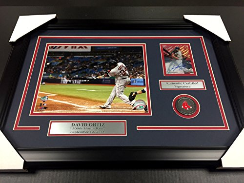 DAVID ORTIZ 500TH HOMERUN RED SOX AUTOGRAPHED CARD WITH 8X10 Photo Framed #2 - David Autographed Baseball