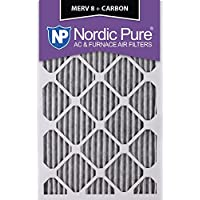 Nordic Pure 16x25x1PM8C-6 Pleated MERV 8 Plus Carbon AC Furnace Filters (6 Pack), 16 x 25 x 1