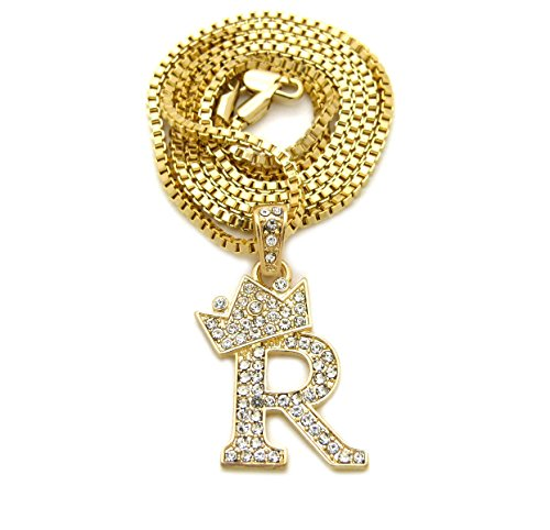 Unisex Small Size Pave Crown Tilted Initial Alphabet Letter Pendant 2mm 24