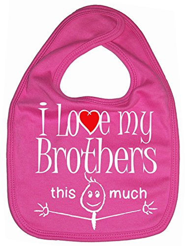 Dirty Fingers, I love my Brothers this much, Baby Unisex Bib, Fuchsia ()