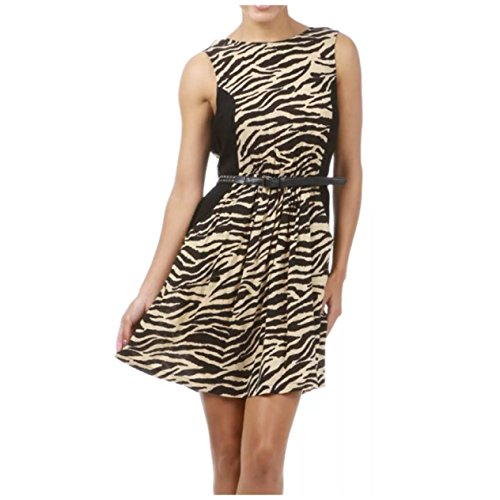 Dress Animal Print Beige Skinny Studded Belt Low Back A Line Sexy (L, Beige/Black)