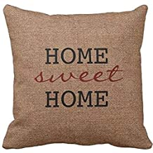 A Rustic Home Sweet Home - Burgundy Faux Burlap Throw pillow case 18*18