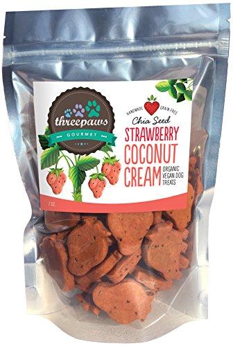 Strawberry Coconut Cream Chia Seed Gourmet Organic and Vegan Dog Treats - Gluten Free, Grain Free