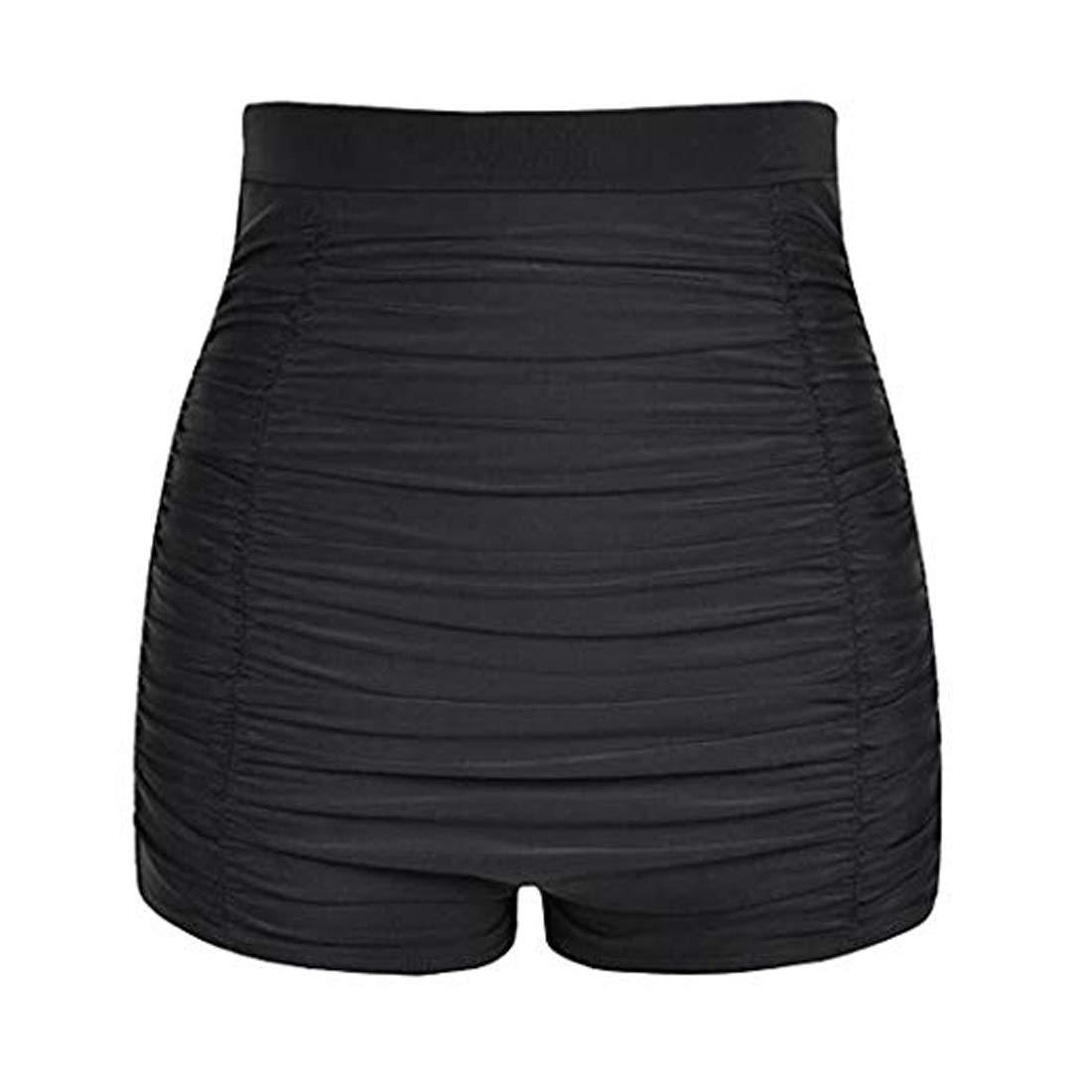 Viloree Damen hohe Taille Bikini Unterteil Badehose Tankinihose Hotpants Bauch Weg Schwarz UhWqYoby Schlussverkauf