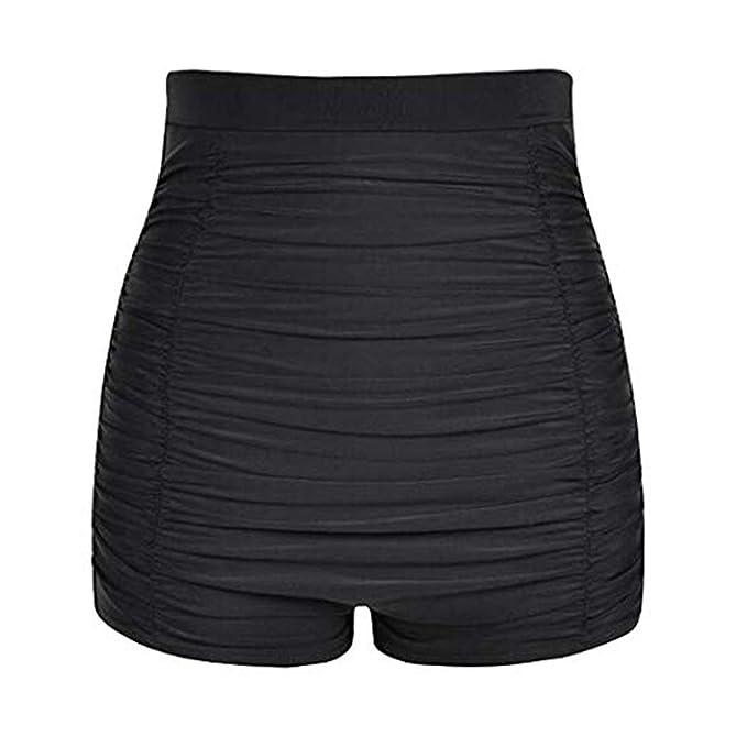 Lovache Womens High Waisted Swim Shorts Ruched Boyleg Tummy Control Bikini Bottom