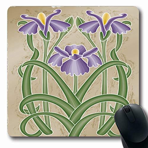 Ahawoso Mousepads Green Floral Nouveau Iris Clip Nature Summer Purple Flower Graphic Leaf Spring Stem Design Oblong Shape 7.9 x 9.5 Inches Non-Slip Gaming Mouse Pad Rubber Oblong ()