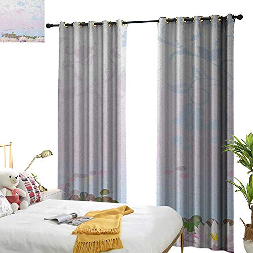 WinfreyDecor Insulated Sunshade Curtain Zen Garden Water Lilies Pattern with Asian Spiritual Design with Ornate Swirled Stalks Darkening and Thermal Insulating W120 x L84 ()