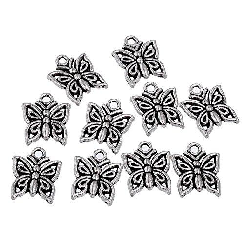 RUBYCA 30PCS Charm Pendant Butterfly 2 Tibetan Metal Beads Silver Color Jewelry Making DIY - Butterfly Jewelry Earrings Rhinestones
