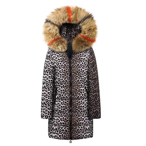 Long Sleeve Outwear Leopard Print Parka Down Overcoat Sweaters Cardigan Coat ()
