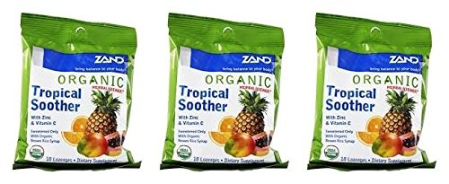 Zand HerbaLozenge Organic Tropical Soother (Pack of 3) With Zinc, Vitamin C, Sage, Thyme and Stevia, 18 count (Organic 18 Lozenges)