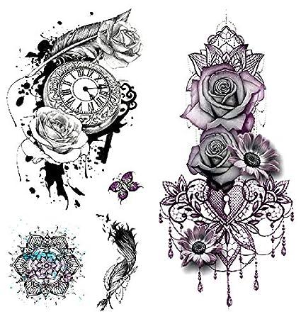 Oottati 2 Hojas 3d Tatuaje Temporal Tattoo Flor Rosa Reloj Pluma
