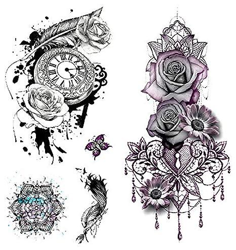 Oottati 2 Hojas 3D Tatuaje Temporal Tattoo Flor Rosa Reloj Pluma: Amazon.es: Belleza