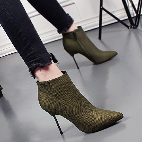 KHSKX-Herbst Und Winter Sexy Dünne Gut Mit Frauen Schuhe Stiefel Martin Wies Schuhe Mit Hohen Absätzen Und Kaschmir Frauen Schuhe green