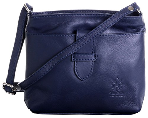 Bag Italian Hand Strap Leather Soft Sacchi Navy Body Shoulder Blue Cross Small Primo Handbag Adjustable Made wq17I55