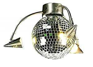 Craftmade LK55L-BN 3 Light Universal Fan Light Kit with Mirrored Disco Ball Glass, Brushed Satin Nickel