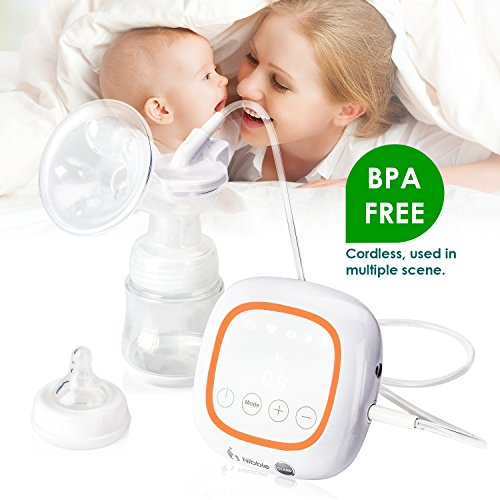 Electric Breast Pump, Gland Double / Single Breastfeeding Pump, Portable Breastpump with Rechargeable Battery and 4 Modes, 36 Level Intensity, BPA Free (2.2 Pounds) by Gland (Image #5)