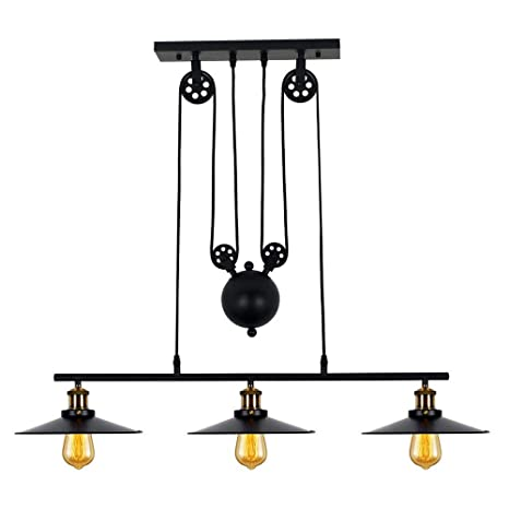 Cool Lampundit 3 Light Island Pulley Pendant Matte Black Finish Vintage Industrial Lighting Fixture For Kitchen Island Breakfast Bar Pool Table Dining Download Free Architecture Designs Scobabritishbridgeorg