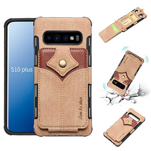Galaxy S10 Plus Case,Samsung Galaxy S10 Plus Wallet Case,YYQUEEN Fabric TPU Galaxy S10 Plus with ID and Credit Card Slot Anti-Shock and Full Protective Cover for Samsung Galaxy S10 Plus(Beige) ()