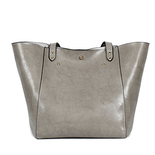 Bags Shoulder Shopping Capacity Large Traveling Bags Tote PU Handbags Leather Women Ephraim Bags Bags Grey 1YAPqU