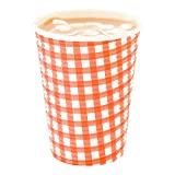 Disposable Paper Hot Cups - 25ct - Hot Beverage Cups, Paper Tea Cup - 12 oz - Picinic Print - Spiral Wall, No Need For Sleeves - Insulated - Wholesale - Takeout Coffee Cup - Restaurantware