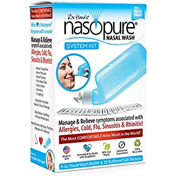 """Dr. Hana's Nasopure the """"Nicer Neti Pot""""   System Kit   8 Ounce Bottle With 20 Buffered Salt Packets   Allergy and Congestion Relief Nasal Wash"""
