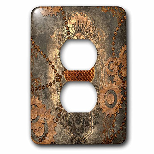 3D Rose LSP_252732_6 Steampunk, Heart and Gears Rusty Metal 2 Plug Outlet Cover