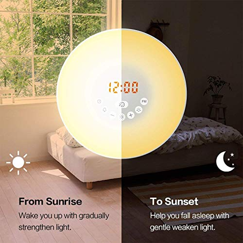 YGold Alarm Clock Wake Up Light Sunrise Sunset Simulation with FM Radio Natural Sounds and Snooze Function 7 Colors 10 Brightness Touch Control and USB Charge for Kids or Bedroom by YGold (Image #6)