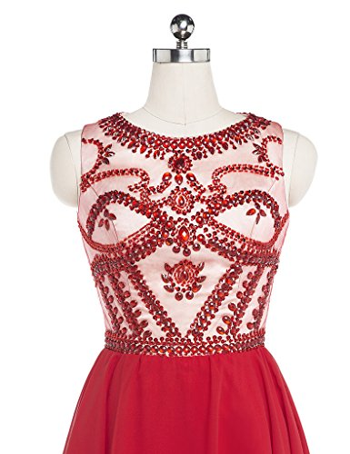 Charmingbridal Écoper D'une Robe De Retour À La Maison Perles Ligne Robe De Bal Rouge Courte Rouge