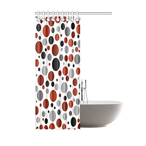 Find Arts Custom Shower Curtain Red Black Gray Polka Dots 48 X 72 Inch