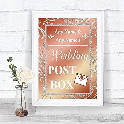 Coral Pink Post Box tarjetas de regalo personalizado boda ...