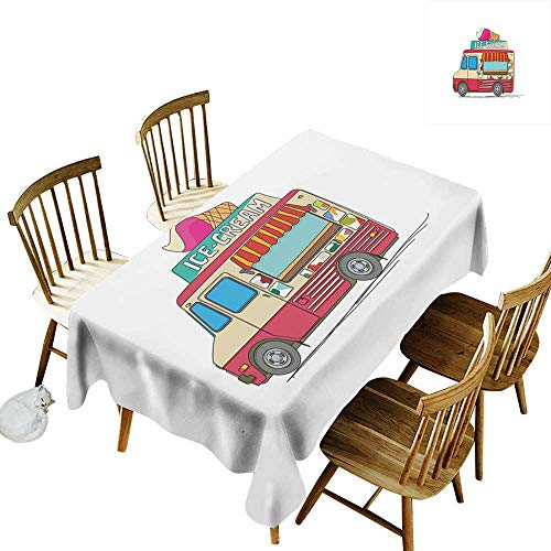 Truck Anti-wrinkle and anti-wrinkle polyester long tablecloth For weddings/banquets Ice Cream Truck Colorful Illustration Business Idea Cartoon Style Cutaway Vehicle W14 x L108 Inch Multicolor]()
