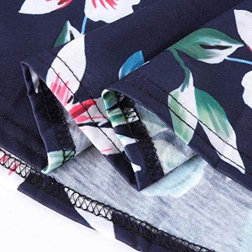 Jupe Grande Manches Chic Adeshop Genou Femmes Slim New Taille Robe Poche Rond Élégant Foncé De A Quarts Bleu Col Sept Casual Soirée Décontractée line Mini Florale Impression nUxUgrWH