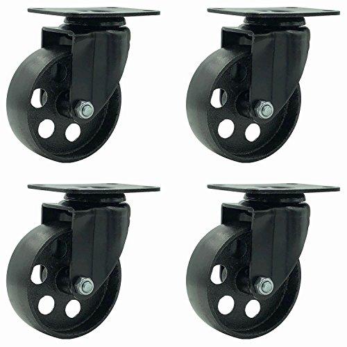 FactorDuty 4 All Black Metal Swivel Plate Caster Wheels Heavy Duty High-gauge Steel (3.5