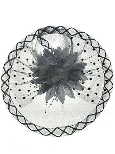 DivaDesigns Women's Feather Bead Flower Net Fascinator Hat on Headband Grey (Beaded Satin Hat)