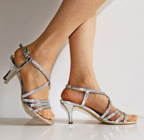 Rock on Styles Ladies Gold Silver Black Party Prom Diamante Ankle Straps Low Kitten Heel Shoes Sandals 30-53 Silver ArmONdu