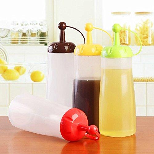 10 Pcs Kitchen Condiment Bottles Plastic Sauce Boat Gravy Bottle Squeeze Sauces Oil Ketchen Cooking Tools (Pink Roses Gravy Boat)